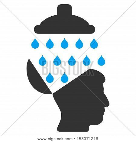 Open Brain Shower glyph pictogram. Style is flat graphic bicolor symbol, blue and gray colors, white background.