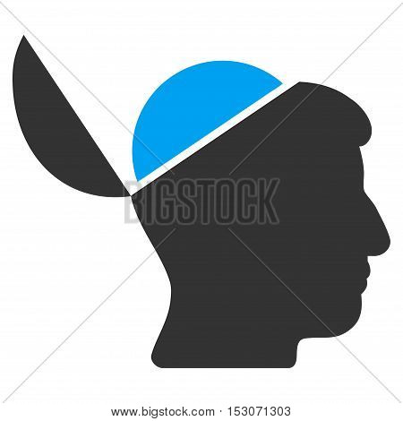 Open Brain glyph pictograph. Style is flat graphic bicolor symbol, blue and gray colors, white background.