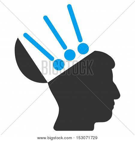 Open Mind Interface glyph icon. Style is flat graphic bicolor symbol, blue and gray colors, white background.