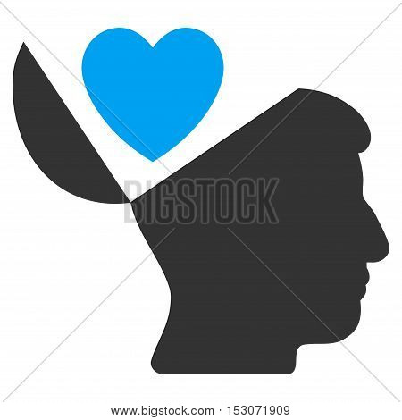 Open Mind Love Heart glyph pictogram. Style is flat graphic bicolor symbol, blue and gray colors, white background.