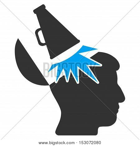 Open Mind Megaphone glyph pictograph. Style is flat graphic bicolor symbol, blue and gray colors, white background.