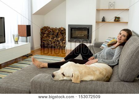 Beautiful woman at home with her best friends