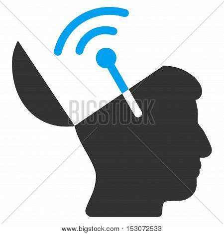 Open Mind Radio Interface glyph icon. Style is flat graphic bicolor symbol, blue and gray colors, white background.