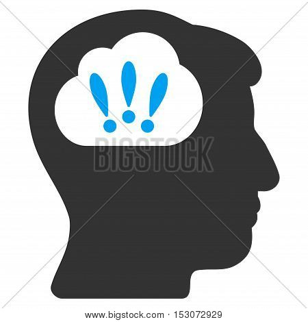 Problem Brainstorm glyph pictograph. Style is flat graphic bicolor symbol, blue and gray colors, white background.
