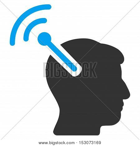 Radio Neural Interface glyph pictogram. Style is flat graphic bicolor symbol, blue and gray colors, white background.