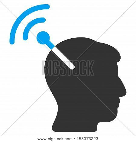 Radio Neural Interface glyph pictograph. Style is flat graphic bicolor symbol, blue and gray colors, white background.