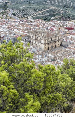 Aerial view landmark of renaissance Cathedral of Asuncion from XVI century public monument in Jaen city Andalusia Spain