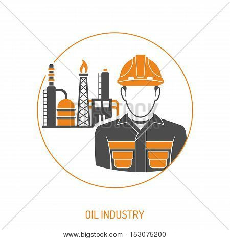 Oil industry extraction and Refinery oil and petrol Concept Two Color Icons Set with oilman. Isolated vector illustration.