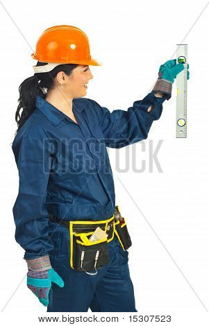 Cheerful Mid Adult Worker Woman Measure