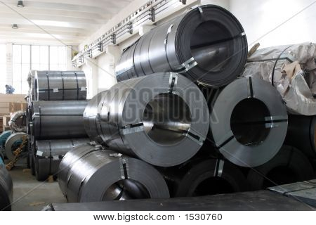 Stack Of Rolls Of Steel Sheet In A Warehouse
