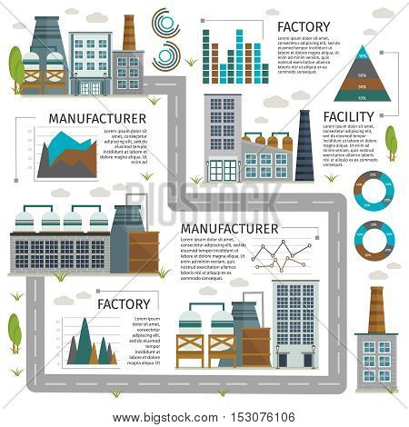 Industrial buildings infographics with factory and road chimney and exhaust graphs charts and statistics vector illustration