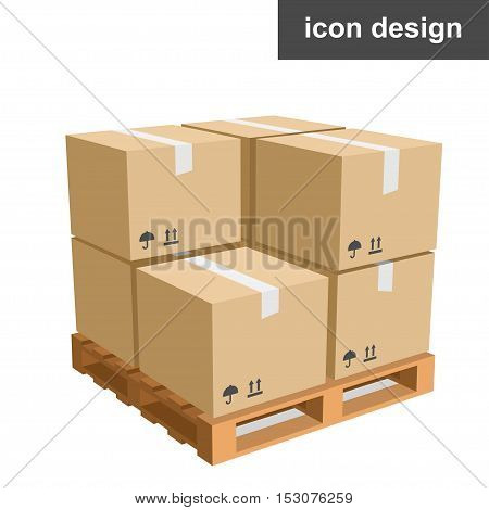 Vector clipart icon of cargo boxes pallet