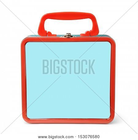 Front view of tin lunch box isolated on white