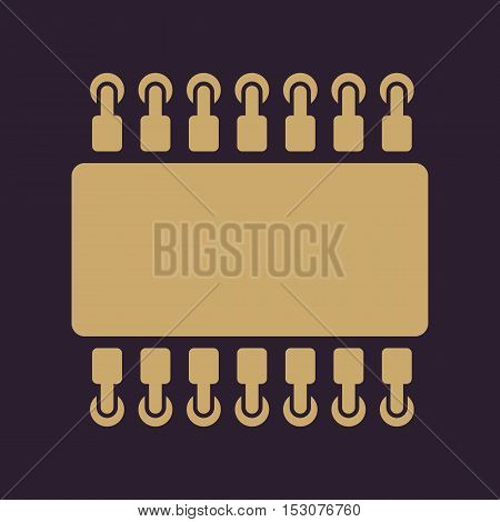 The chip icon. Hardware and processor, technology symbol. Flat Vector illustration
