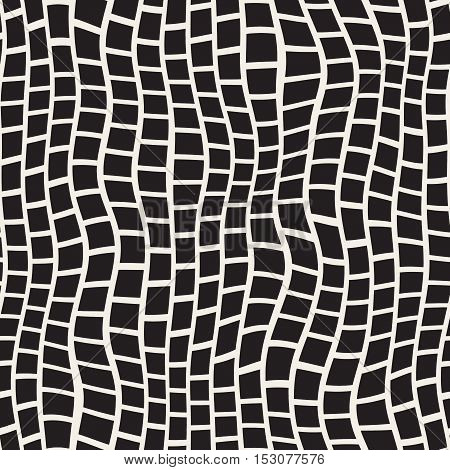 Vector Seamless Black And White Distorted Pavement Pattern. Abstract Freehand Background Design