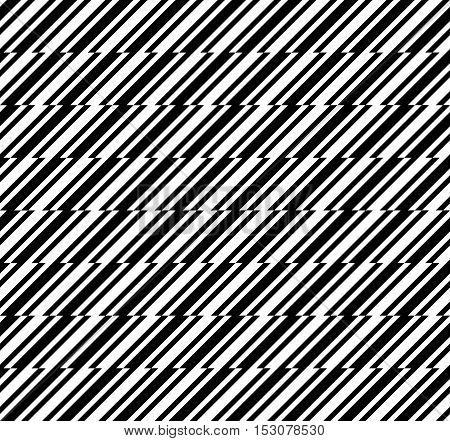Black and white abstract herringbone geometric seamless pattern, vector background