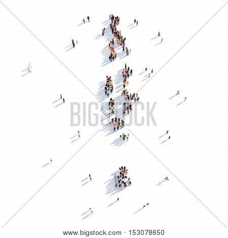 Large and creative group of people gathered together in the form of a map Maldives, a map of the world. 3D illustration, isolated against a white background. 3D-rendering.
