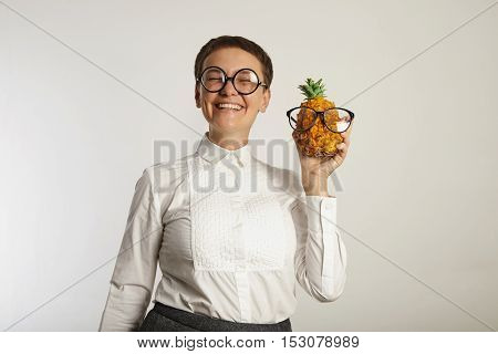 Funny Teacher With A Pineapple