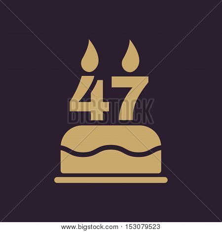 The birthday cake with candles in the form of number 47 icon. Birthday symbol. Flat Vector illustration
