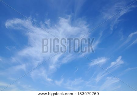 beautiful blue sky with spindrift clouds. background. abstraction