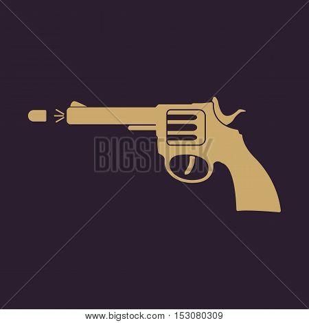 The gun icon. Pistol and handgun, weapon, revolver, shot symbol. Flat Vector illustration