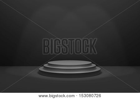 3D Rendering : illustration of stage for awards ceremony. Black round podium. First place.3 steps empty podium on black room background and lighting drop from top.for advertising your product or present a product
