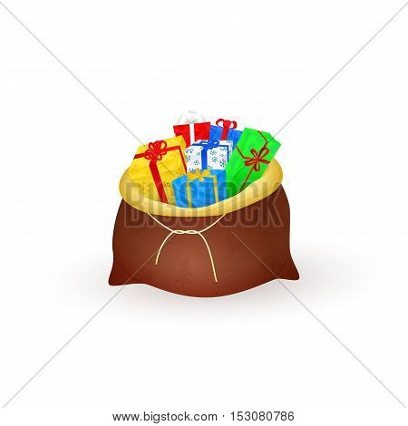 Santas sack filled with gifts isolated on white background. Elements for Christmas or New Year flat design. Colorful boxes with bows. Cartoon Xmas vector illustration