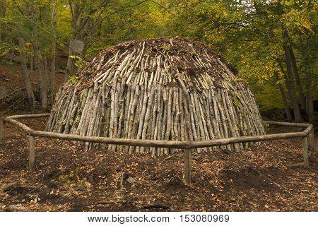 Charcoal pile in the forest. Hayedo de Tejera Negra Guadalajara Spain
