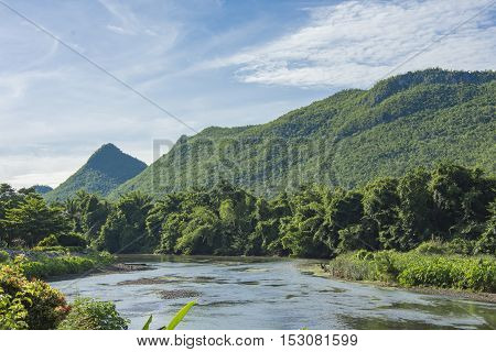 river moutain and sky blue in thailand