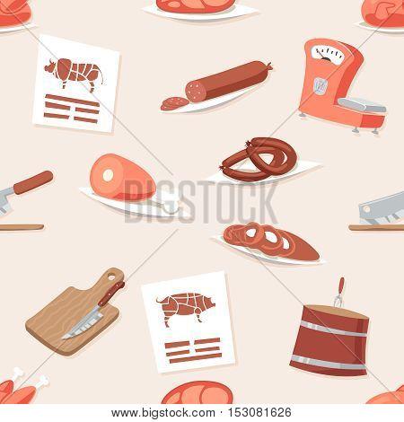 Butcher Shop Seamless Pattern Meat Retro Vintage Cartoon Background Icon Set Vector Illustration
