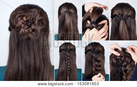 hairstyle braided rose tutorial step by step. Hairstyle for long hair. Simple hairstyle for long and medium loose hair tutorial. Braided hairstyle. Hair tutorial
