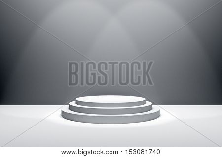 3D Rendering : illustration of stage for awards ceremony. White round podium. First place.3 steps empty podium on white room background and lighting drop from top.for advertising your product or present a product