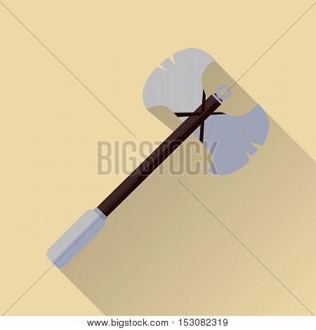Two blade battle axe isolated. Medieval knife. Weapon symbol icon. War concept. For computer games, mobile appliances. Part of series of game objects in flat design. Vector illustration.