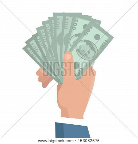 Hand with money vector illustration in flat style design. Businessman holding one hundred dollar banknotes in hand. Income, investment, loan, savings, wages illustration for business concepts. poster