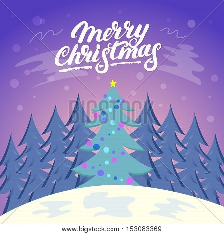 Cute Christmas landscape background with snow and tree. Forest. Merry Shristmas hand written lettering. Modern brush cakkigraphy. Flat vector illustration.