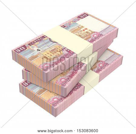 Omani rials bills isolated on white background. 3D illustration.