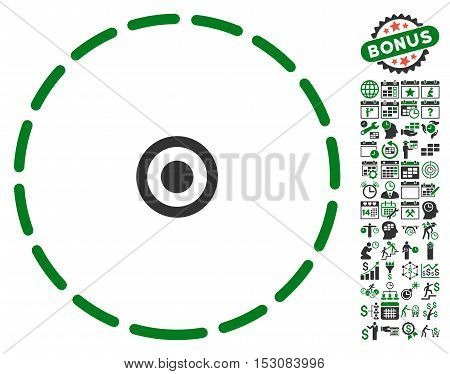 Round Area icon with bonus calendar and time management clip art. Glyph illustration style is flat iconic symbols, green and gray colors, white background.