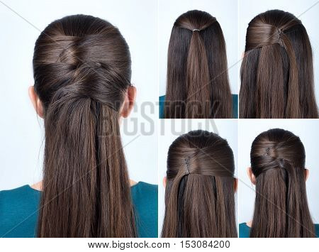 simple half-up hairstyle with pins tutorial step by step. Hairstyle for long hair. Hairstyle tutorial. Pinned half updo