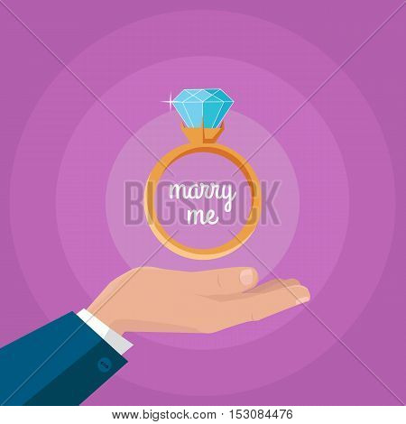 Marry me vector concept in flat design. Gold wedding ring with huge diamond on mans hand. Romantic gift for gift for the future bride. Marriage proposal and love declaration with jewelry.