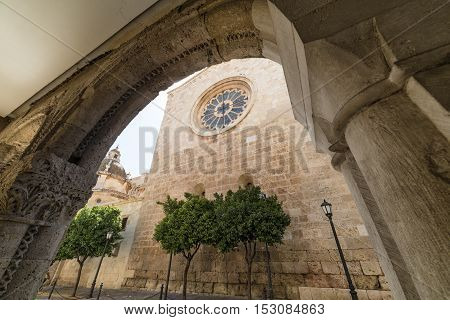 Tarragona (Catalunya Spain): exterior of the gothic cathedral seen through an arch of another gothic building poster
