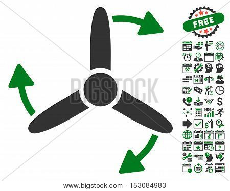Three Bladed Screw Rotation pictograph with bonus calendar and time management pictograms. Glyph illustration style is flat iconic symbols, green and gray colors, white background.