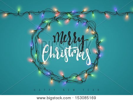 Glowing Christmas Lights Wreath for Xmas Holiday Greeting Cards Design. Merry Christmas Lettering label. Glowing lights Garlands Xmas Holiday greeting card design