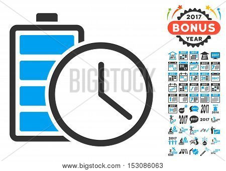 Battery Time pictograph with bonus 2017 new year design elements. Glyph illustration style is flat iconic symbols, blue and gray colors, white background.