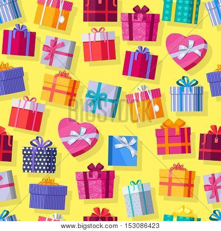 Seamless pattern gift boxes. Colorful wrapped gift boxes. Beautiful present box with overwhelming bow. Various gift boxes on yellow background. Gift symbol. Christmas gift box. Vector illustration