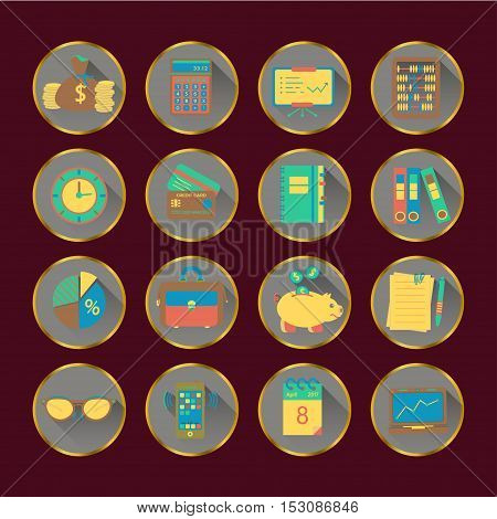 Book keeping vector flat icons. Finance, accounting and auditing, economic, business symbols. Business illustration