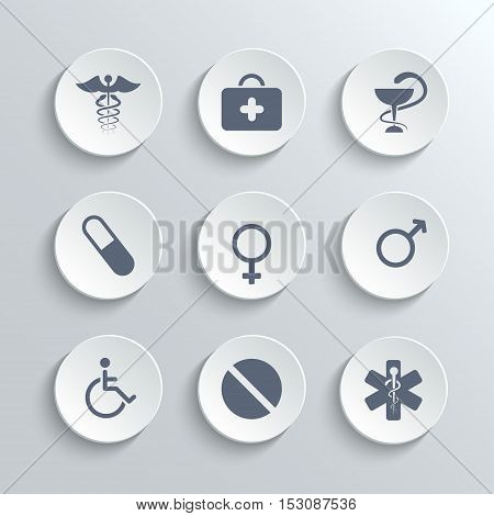 Medical icons set - vector white round buttons with first aid kit caduceus pills man woman gender and disabled symbols