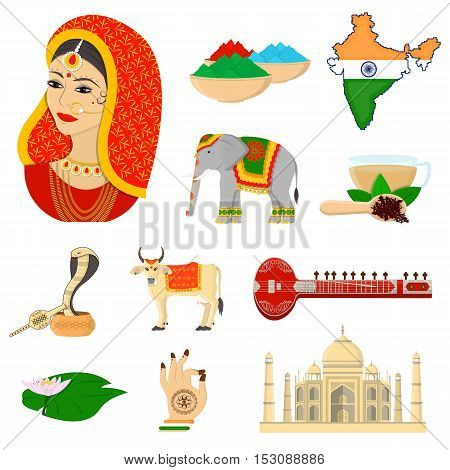 India set icons in cartoon style. Big collection India vector symbol stock