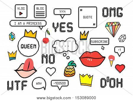 Patch fashion collection. Popular phrases: Omg Yes No Wtf Doh. Sticker style pixel art, crown, lips, ice cream, diamond, pineapple. Design elements vector illustration