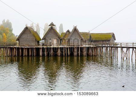 Pfahlbauten, Unteruhldingen, Reconstructed neolithic lake dwelling on the shore of lake constance locally known as Bodensee