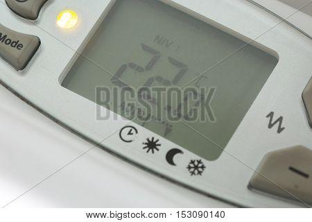 Closeup Of Modern Radiator With Digital Temperature